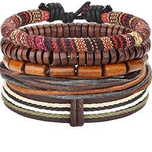 Other - Boho Beaded Leather Cuff Bracelet